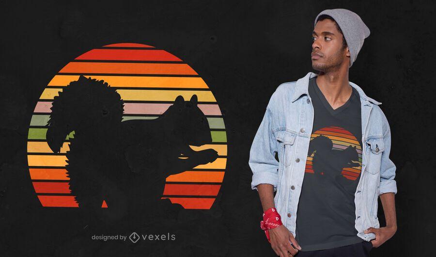 Desenho de camiseta com silhueta de esquilo retrô
