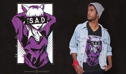 Diseño de camiseta anime sad girl