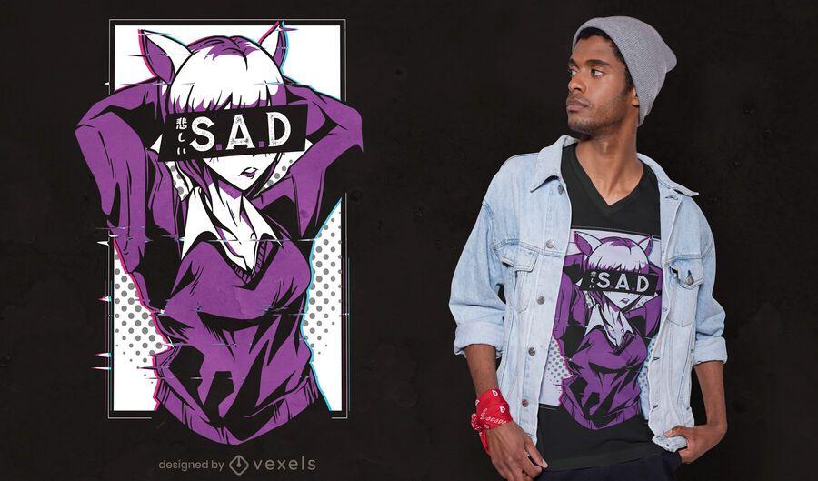 Design de camiseta de anime triste