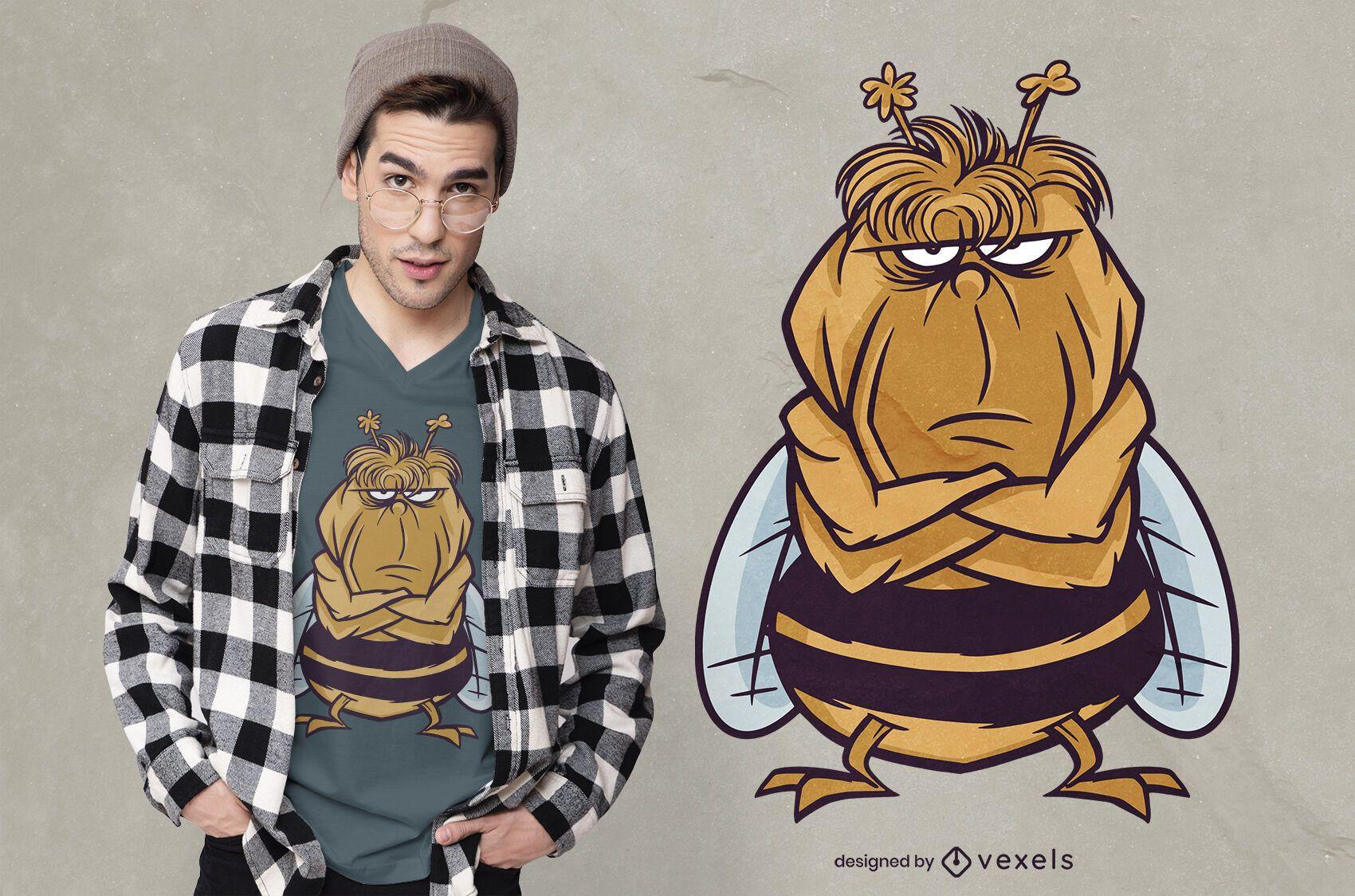 Diseño de camiseta de abeja enojada