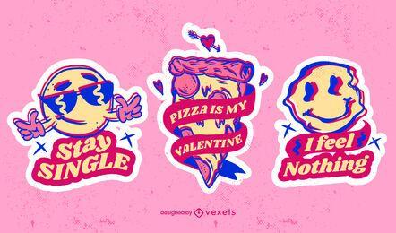 Anti-Valentinstag-Aufkleberset