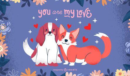 Diseño de ilustración de perros de san valentín