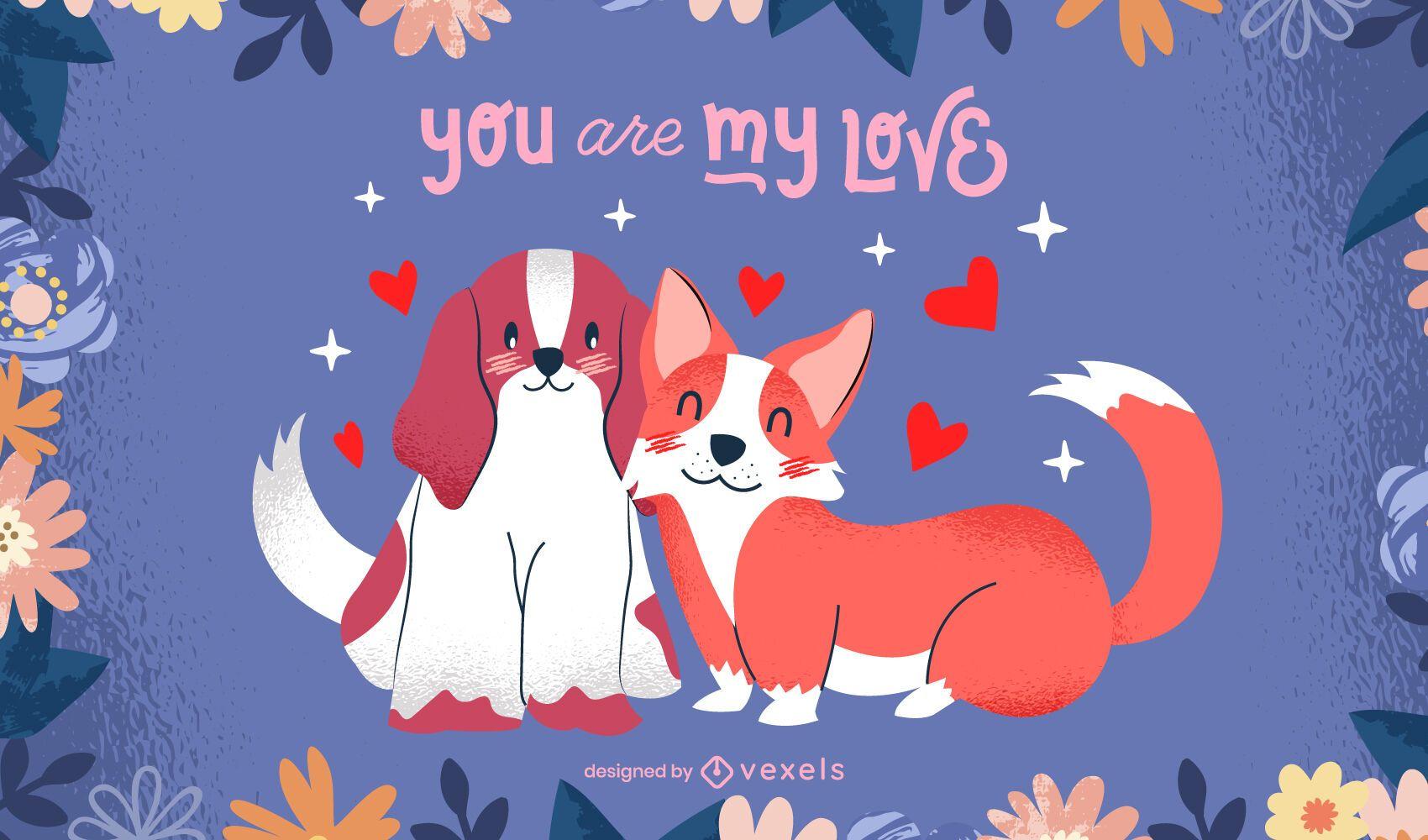 Valentine's day dogs illustration design