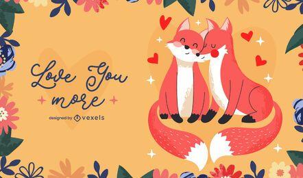 Diseño de ilustración de zorros de san valentín