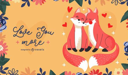 Valentine's day foxes illustration design