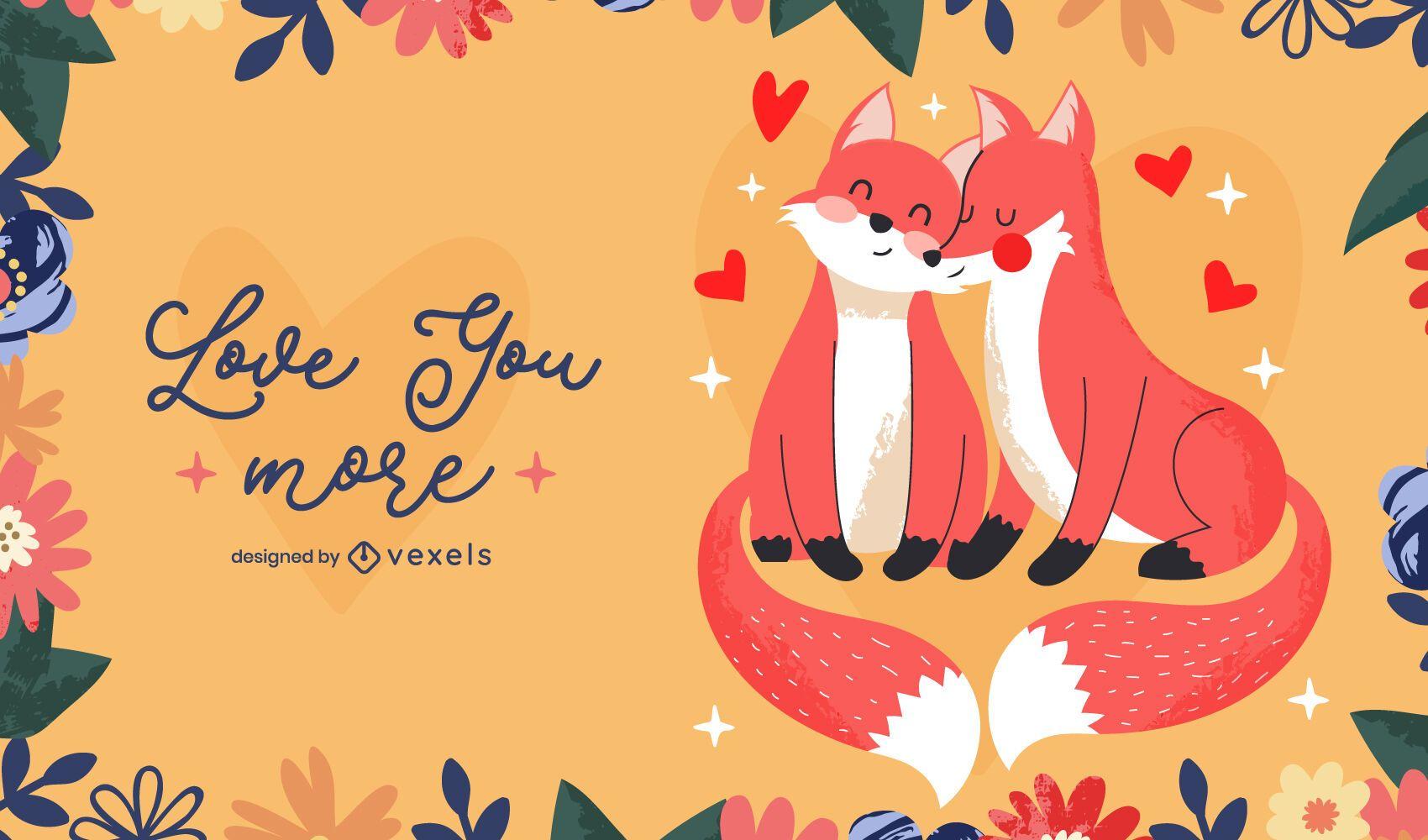 Desenho de ilustração de raposas do dia dos namorados