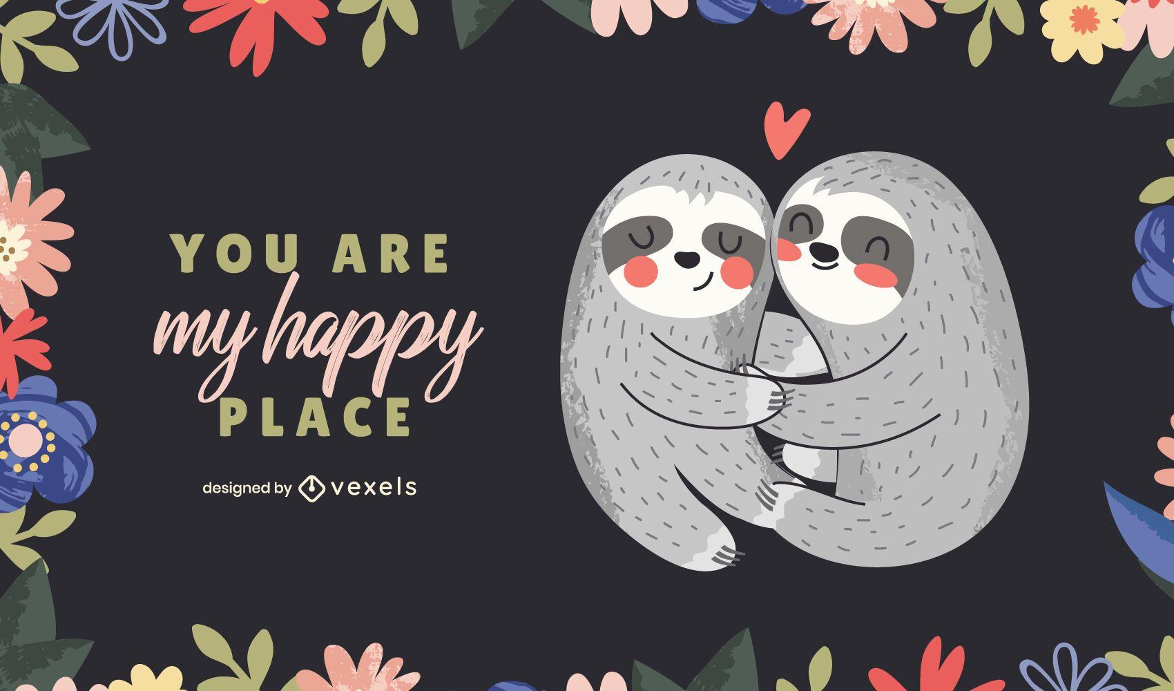 Desenho de ilustração de preguiças do dia dos namorados
