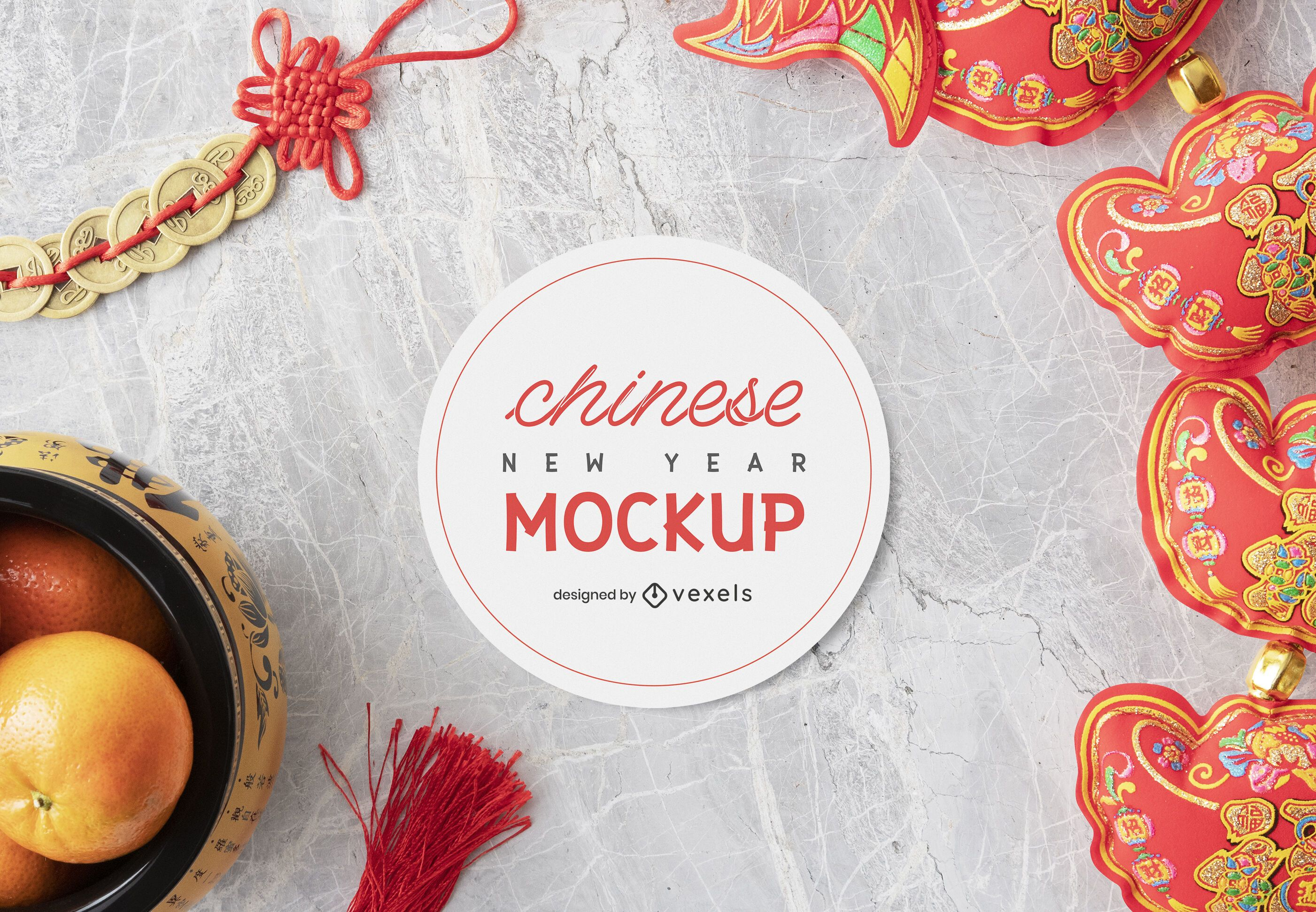 Chinese new year mockup composition