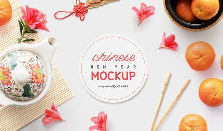 Composición de maqueta de elementos chinos
