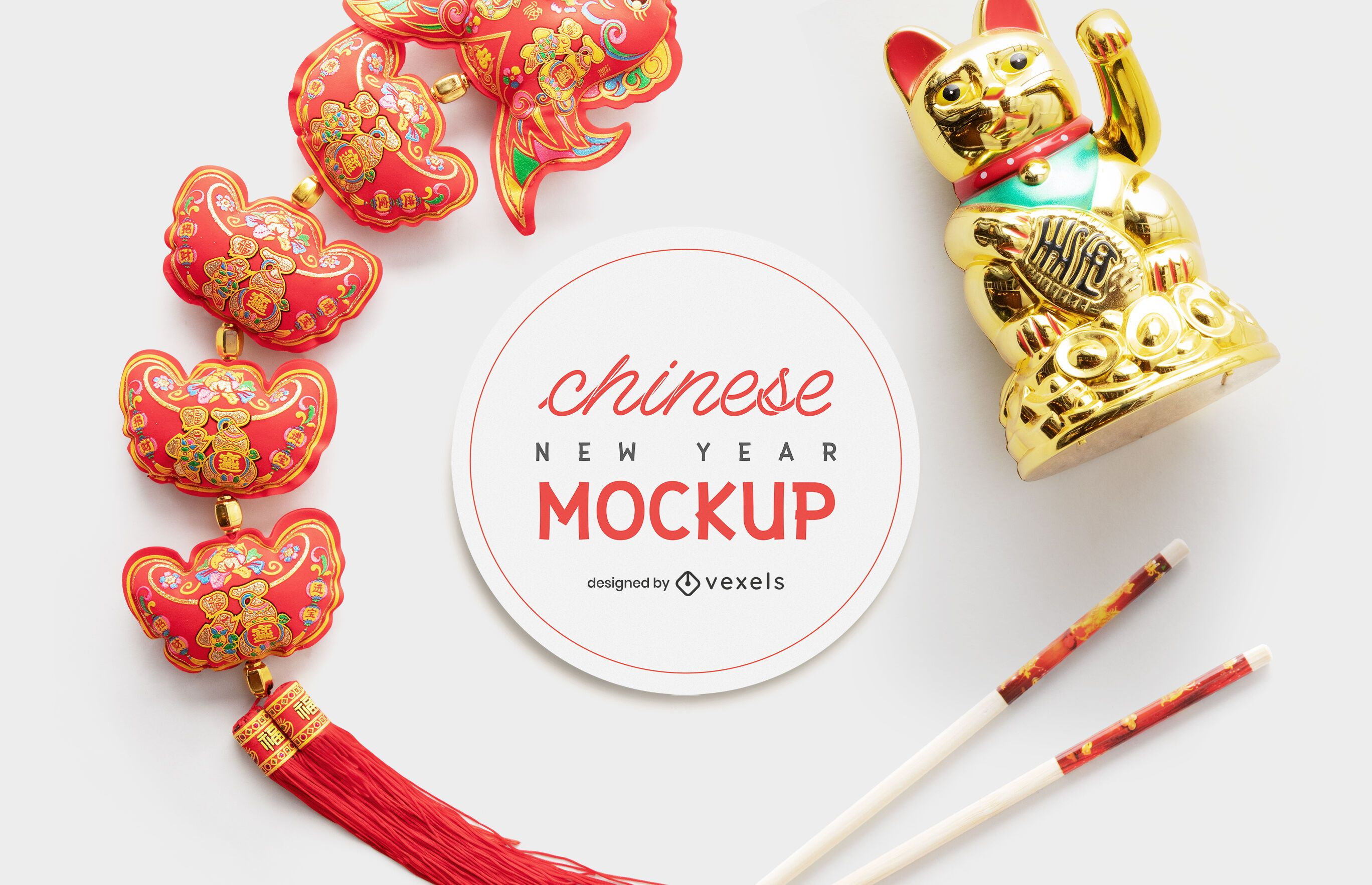 New year chinese mockup composition