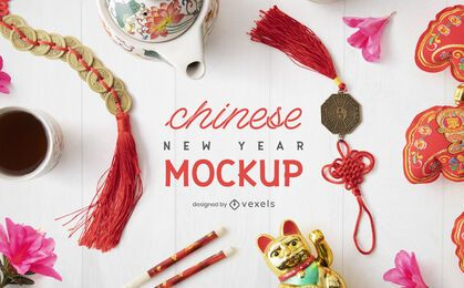 Chinese new year elements mockup