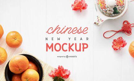 Composición de maqueta de elementos de año nuevo chino