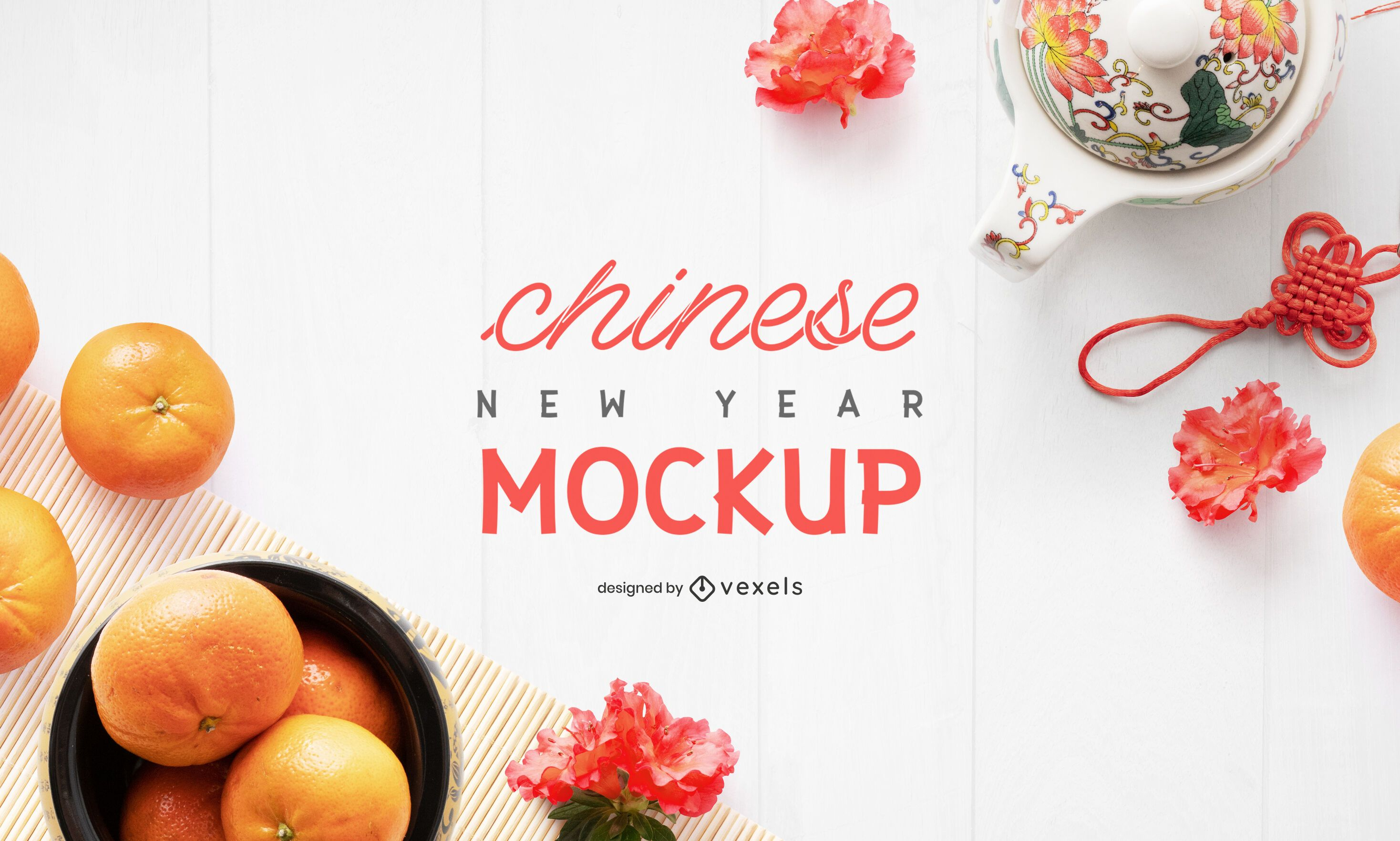 Chinese new year elements mockup composition