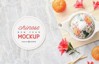Chinese teapot mockup composition
