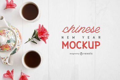 Composição de maquete de chá chinês