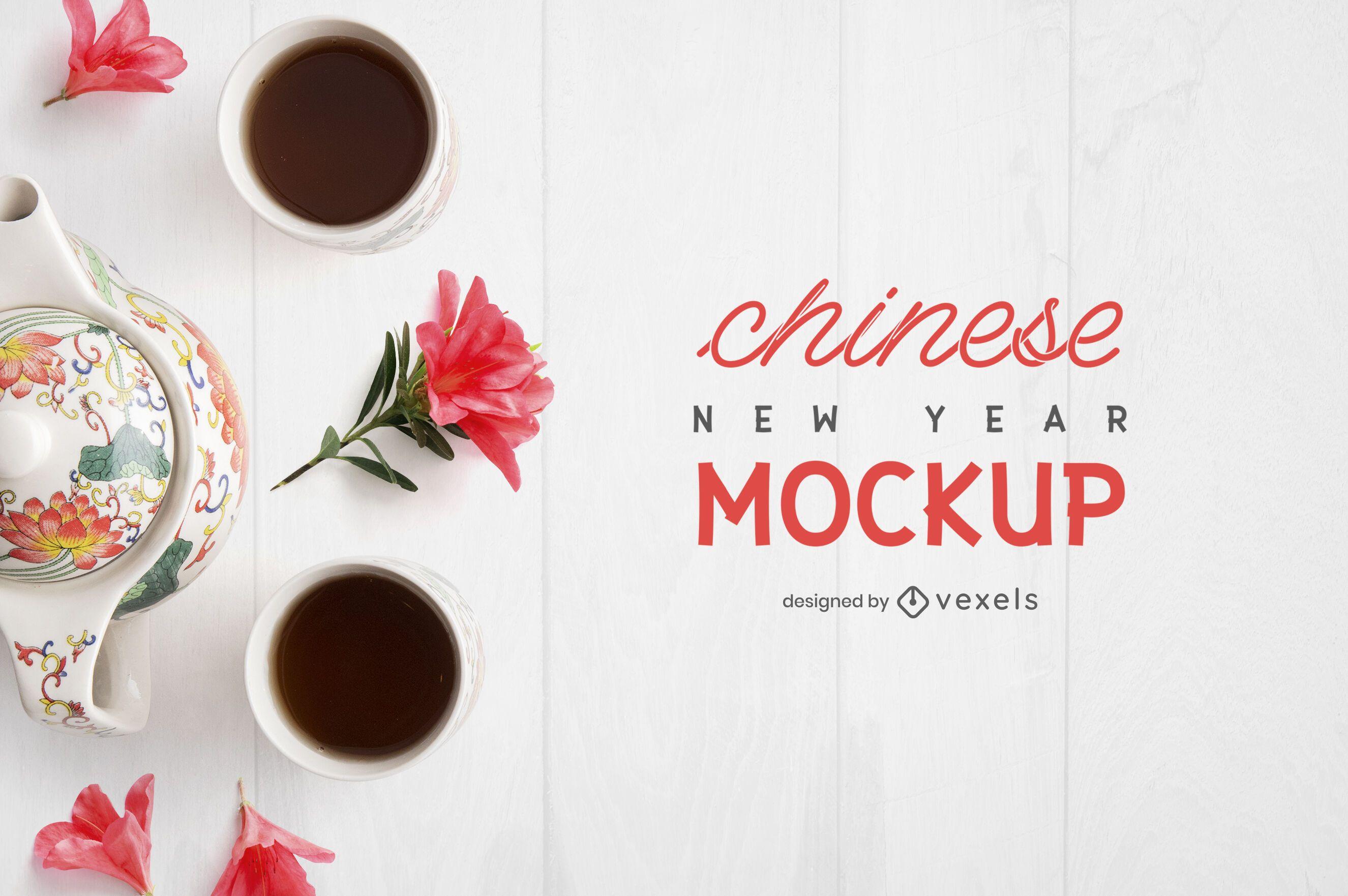 Composición de maqueta de té chino