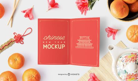 Composição de maquete de cartão de ano novo chinês