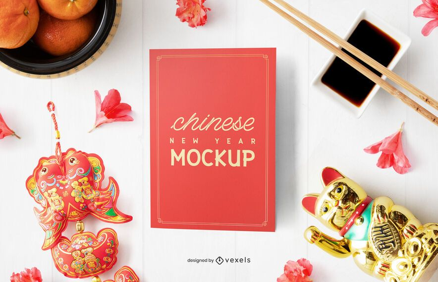 Chinese greeting card mockup composition