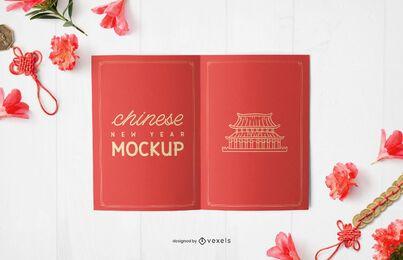 Diseño de maqueta de tarjeta de año nuevo chino