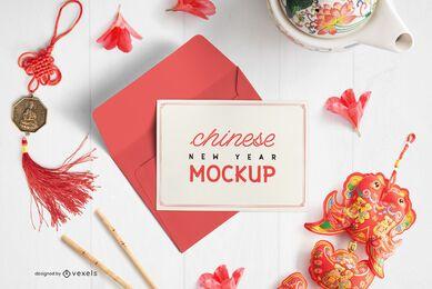 Composição de maquete de envelope de cartão chinês