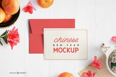 Chinese greeting card envelope mockup composition