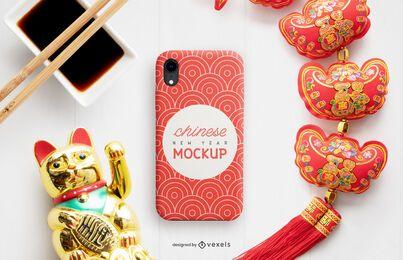 Composição de maquete de capa de telefone chinesa