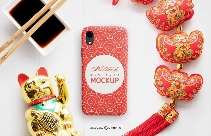 Chinese phone case mockup composition