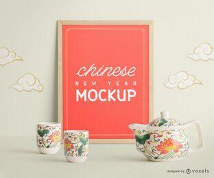 Diseño de maqueta de cartel de año nuevo chino
