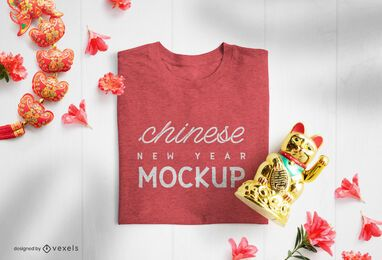 Chinese new year t-shirt mockup composition
