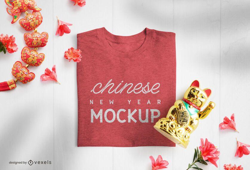 Composição da maquete de camiseta do ano novo chinês