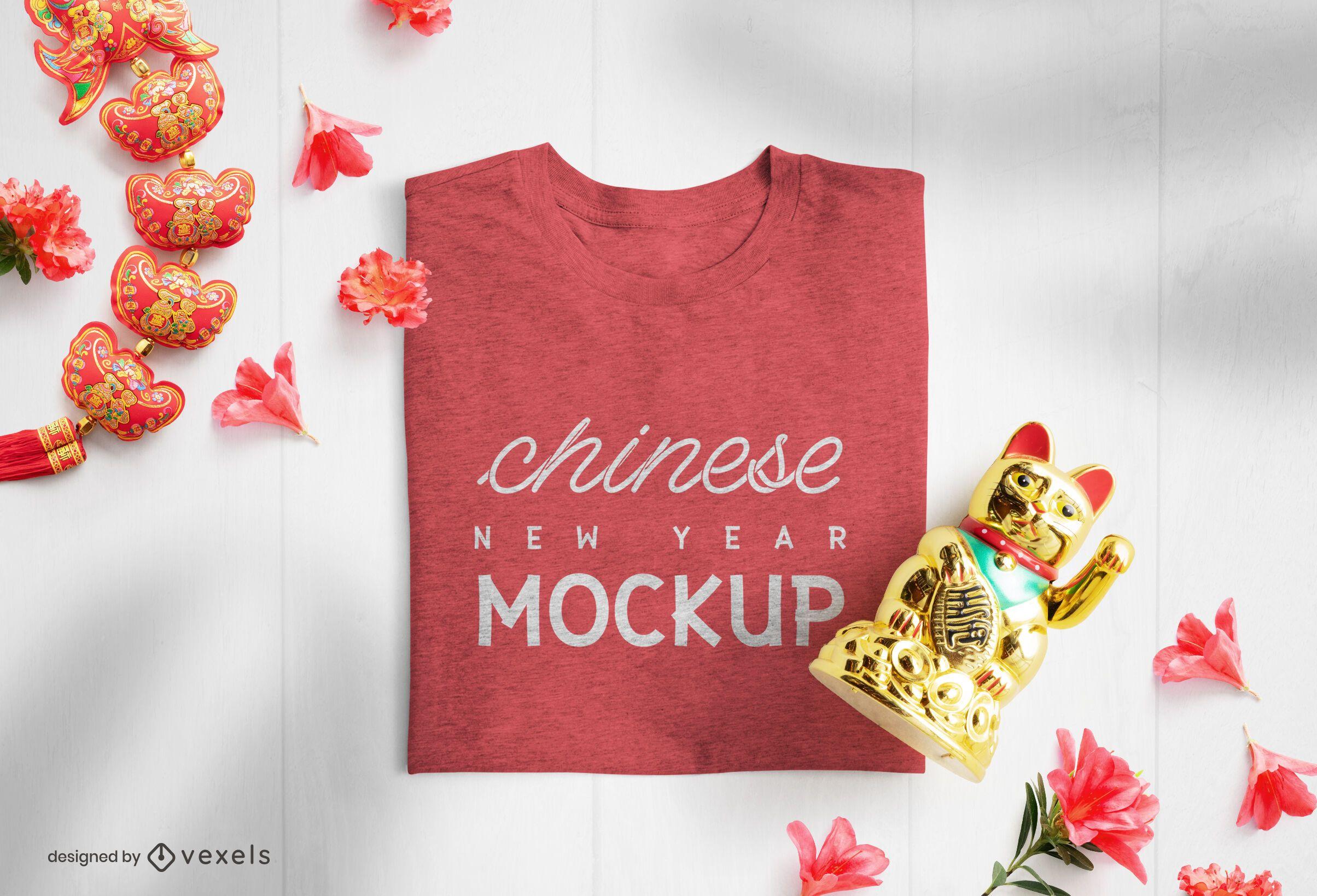 Composi??o da maquete de camiseta do ano novo chin?s