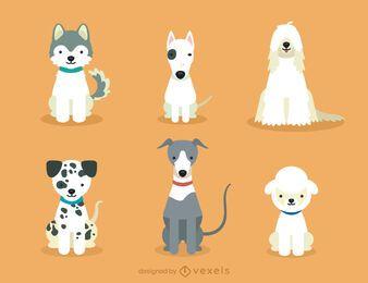 Conjunto de ilustração de raças de cães fofos