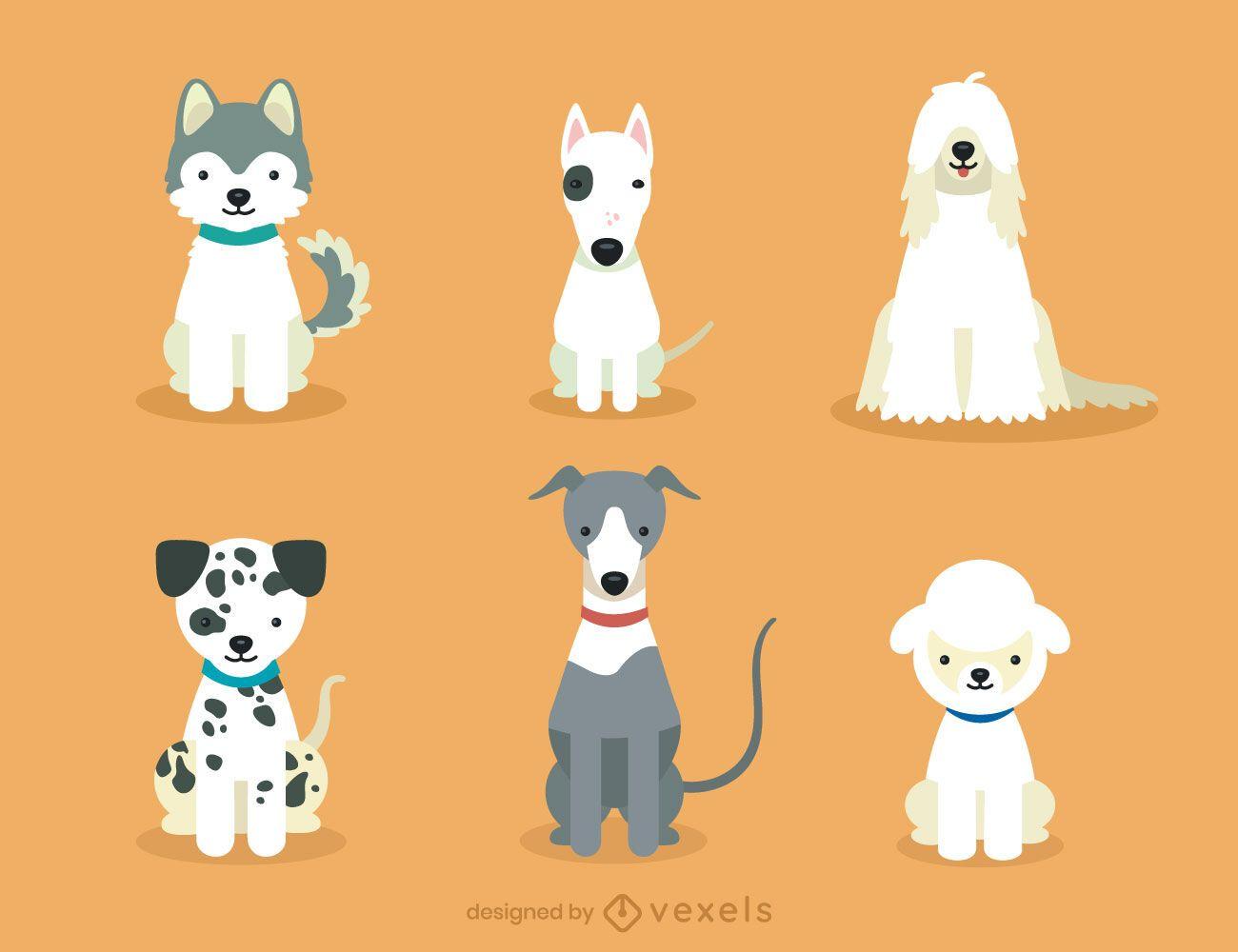 Cute dog breeds illustration set