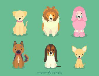 Dog breeds puppies illustration set