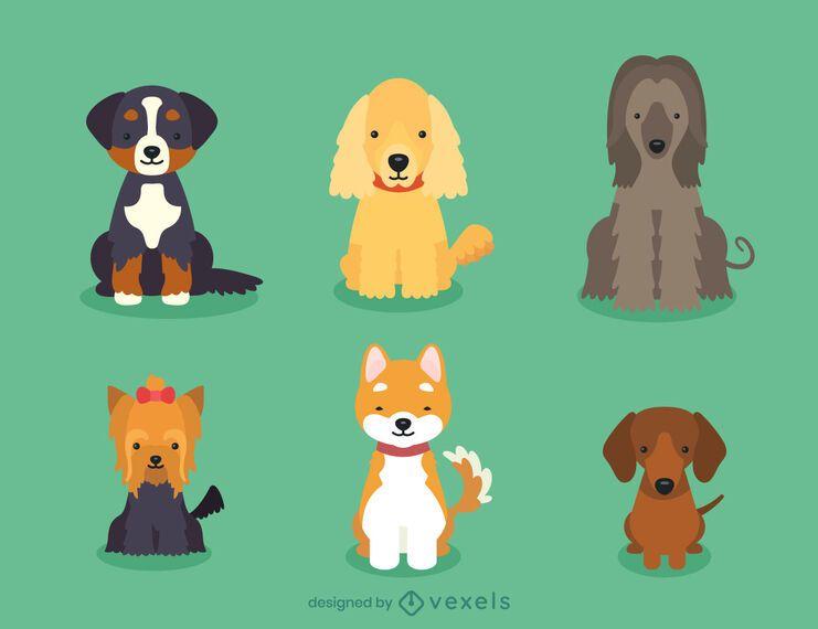 Conjunto de ilustração de cachorros de raça de cachorro