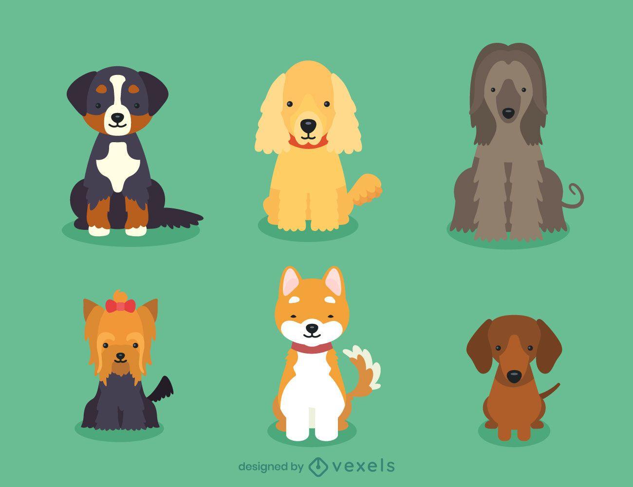 Dog breed puppies illustration set