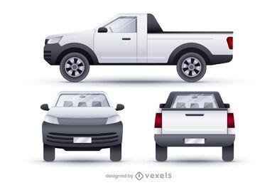 Conjunto de ilustração realista de vans pickup