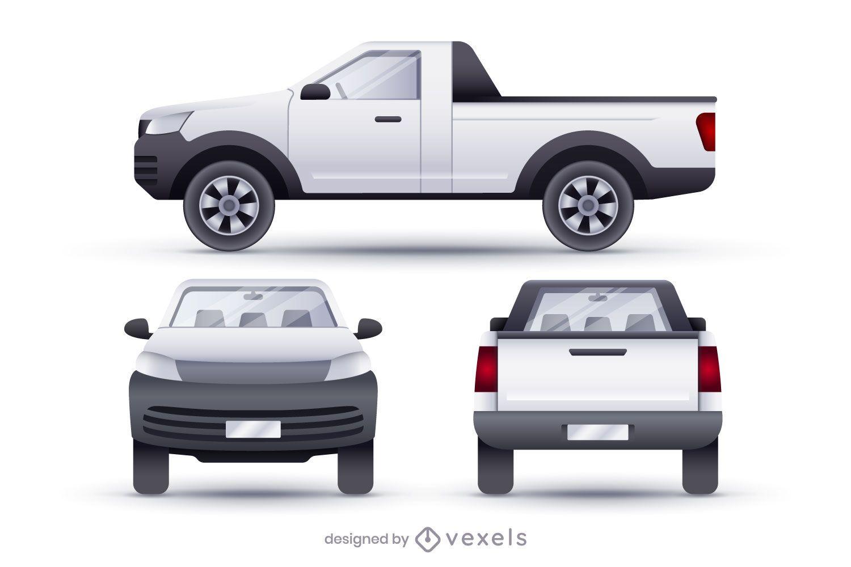 Pickup vans realistic illustration set