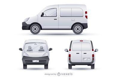 Conjunto de ilustración realista de camionetas de tripulación