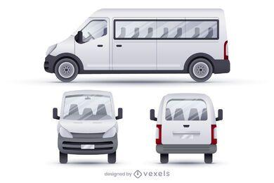 Conjunto de ilustração realista de microônibus vans