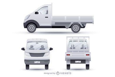 Conjunto de ilustração realista de vans dropside