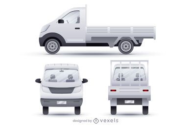 Dropside vans realistic illustration set