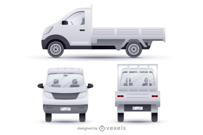 Conjunto de ilustración realista de camionetas con caja abierta