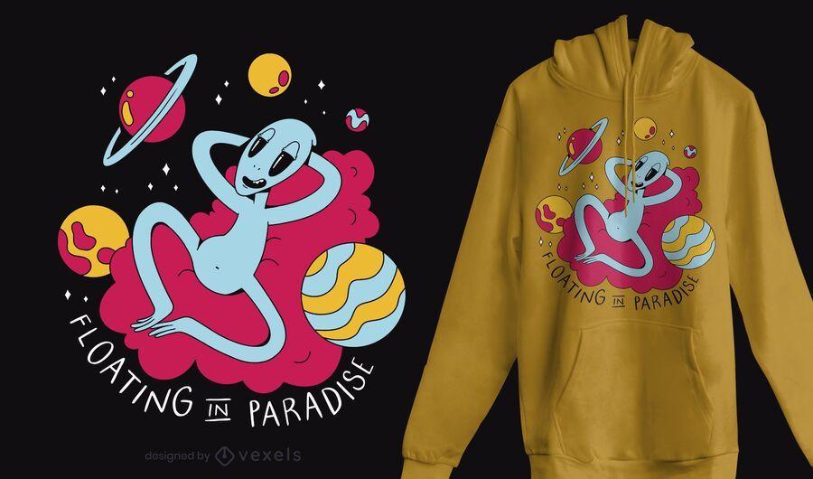 Diseño de camiseta alienígena escalofriante