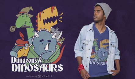 Diseño de camiseta de mazmorras y dinosaurios.