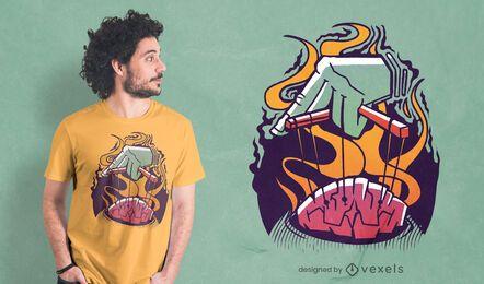 Diseño de camiseta de cerebro titiritero