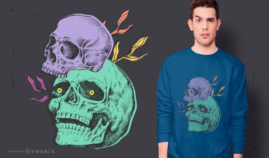 Creepy skulls t-shirt design