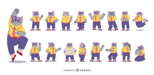 Conjunto de caracteres de gato de negocios
