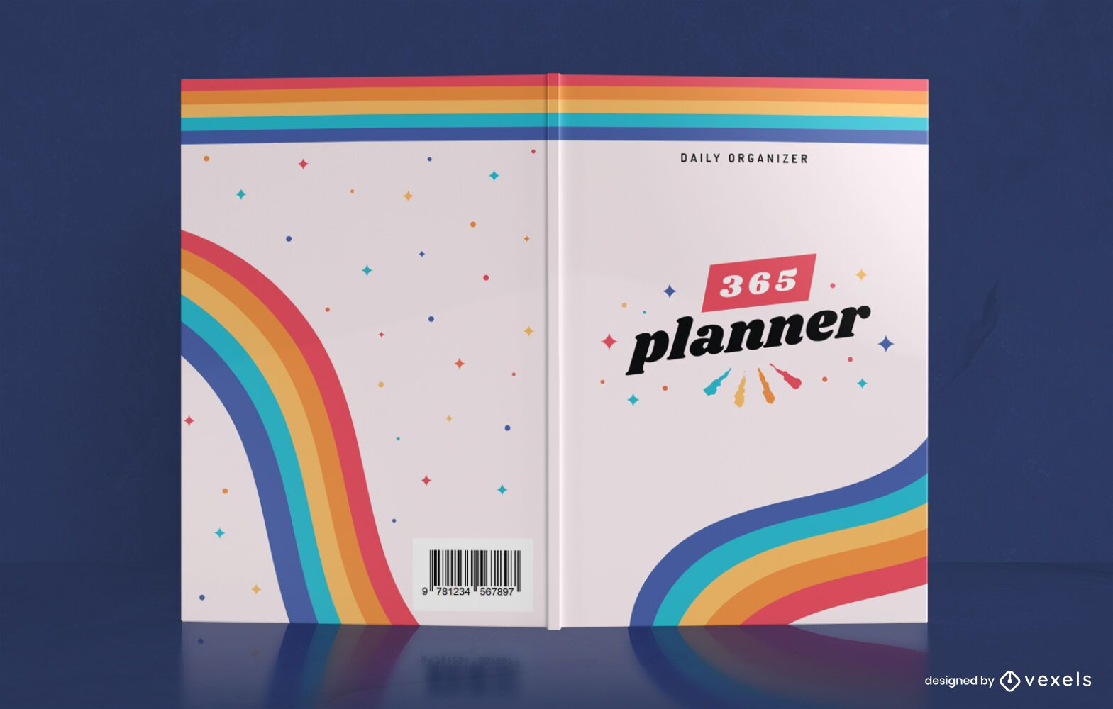 Rainbow Yearly Planner Book Cover Design