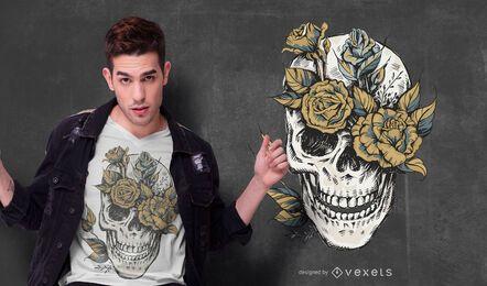 Design de camiseta com caveira de flores